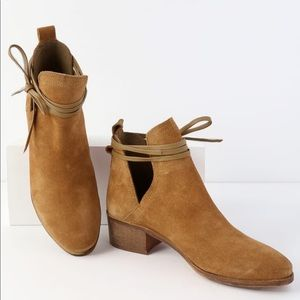 New! PACEY TAN SUEDE LEATHER CUTOUT ANKLE BOOTIES
